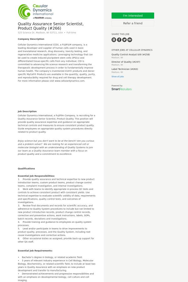 Quality Assurance Senior Scientist, Product Quality job at Cellular ...