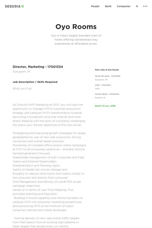 Director, Marketing - 17001334 job at Oyo Rooms in Gurgaon, India ...