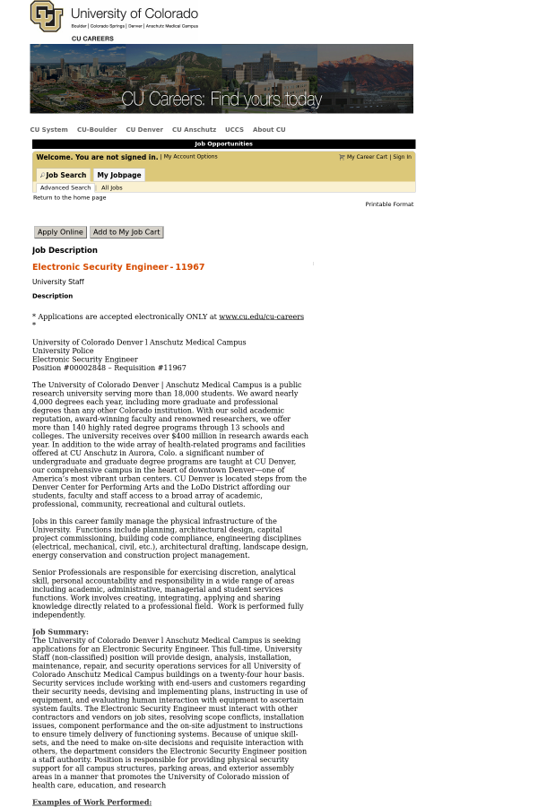 Electronic Security Engineer job at University of Colorado in Aurora ...