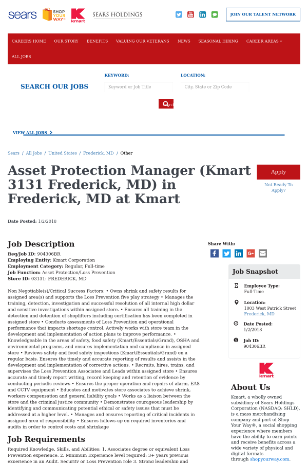 Asset Protection Manager Kmart 3131 Frederick Md Job At Sears