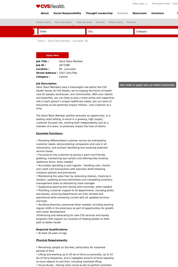 Store Team Member job at CVS Health in Lancaster, PA | Tapwage Job ...