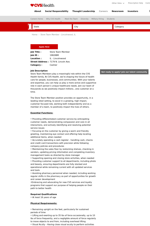 store team member job at cvs health in lincolnwood il 10420425