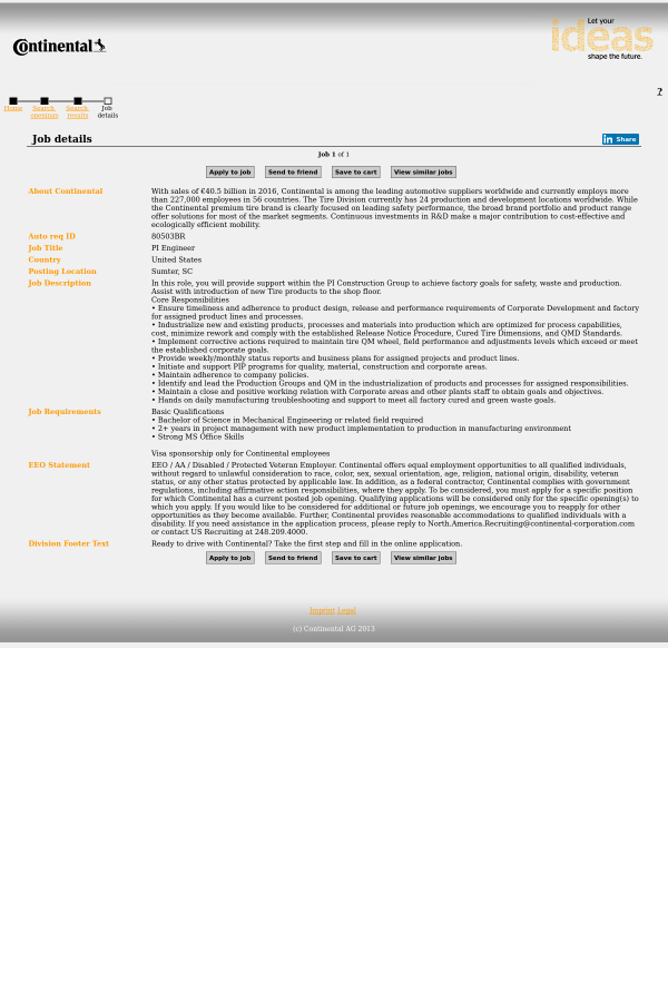 Pi Engineer Job At Continental Ag In Sumter Sc 10454674 Tapwage