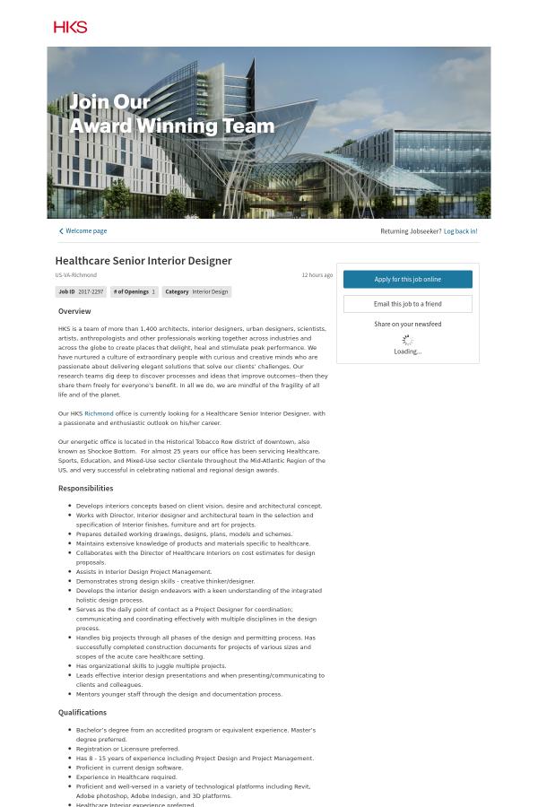 Healthcare interior design jobs for Interior design jobs in america