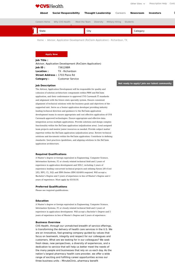 advisor application development rxclaim application job at cvs