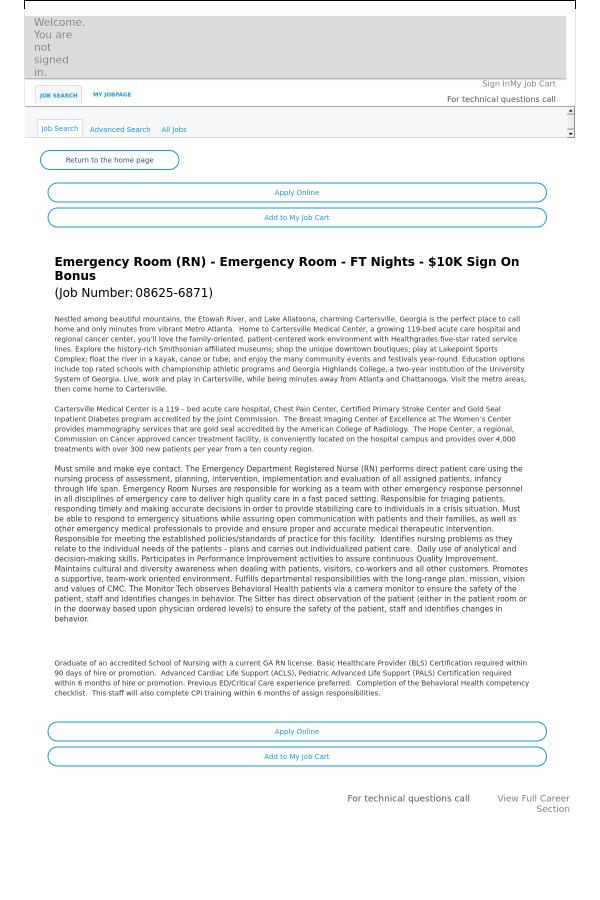 Emergency Room Emergency Room Nights Job At Hca Holdings Inc