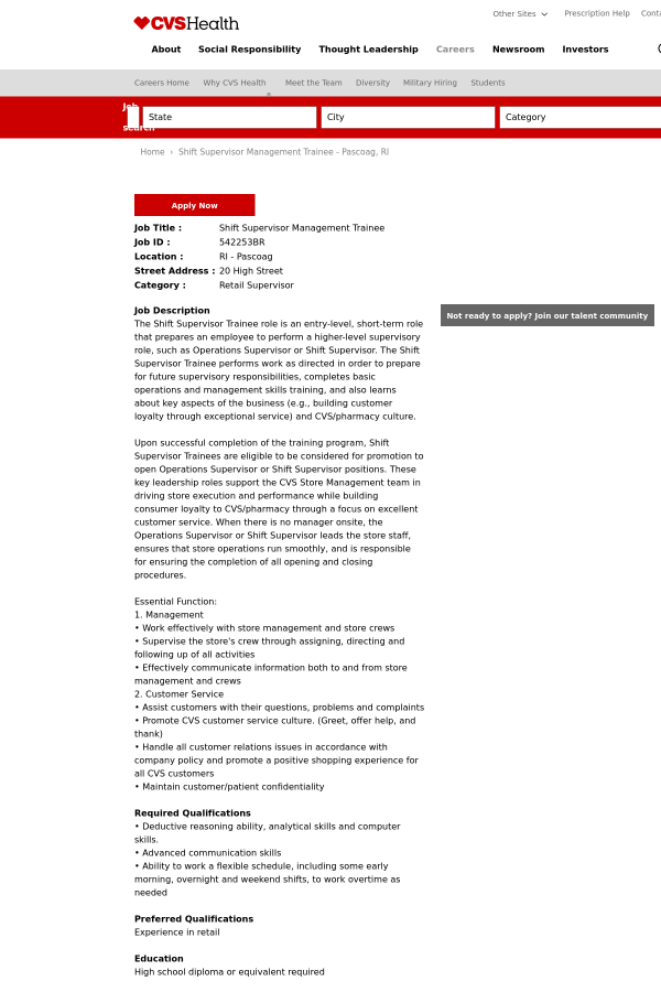 shift supervisor management trainee job at cvs health in pascoag ri