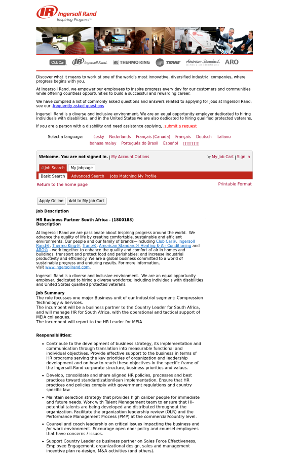 hr business partner south africa job at ingersoll rand in