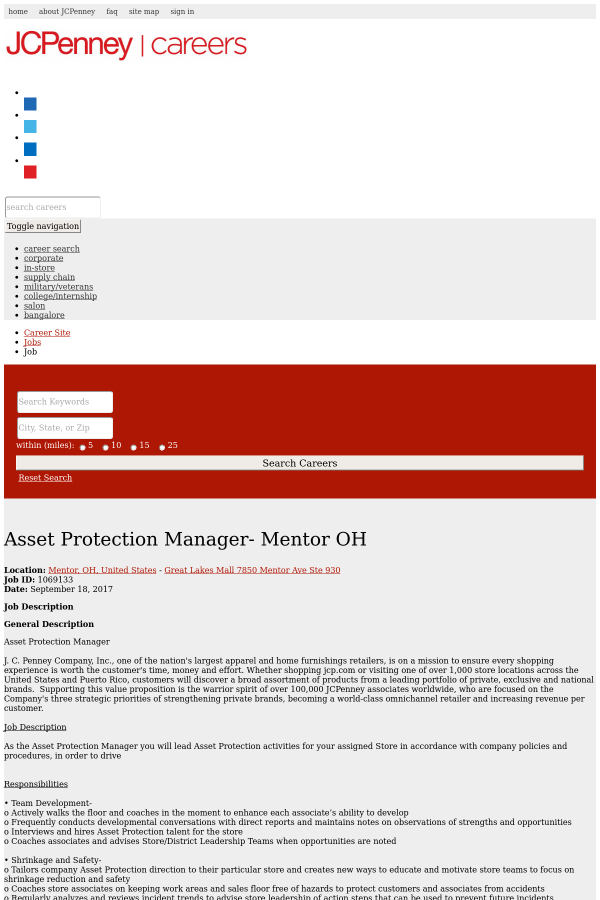 Asset Protection Manager - Mentor OH job at JCPenney in Mentor, OH ...