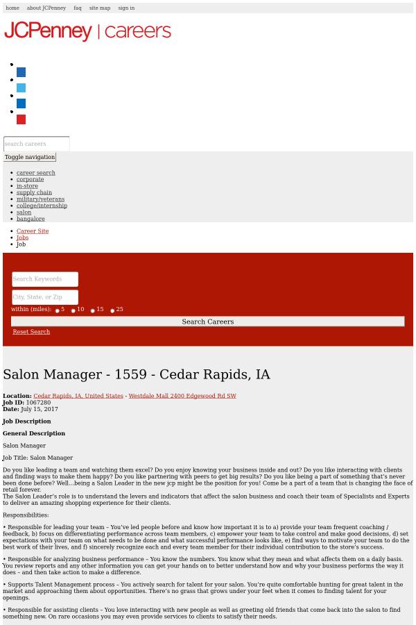 Salon Manager - Cedar Rapids, IA job at JCPenney in Cedar Rapids, IA ...
