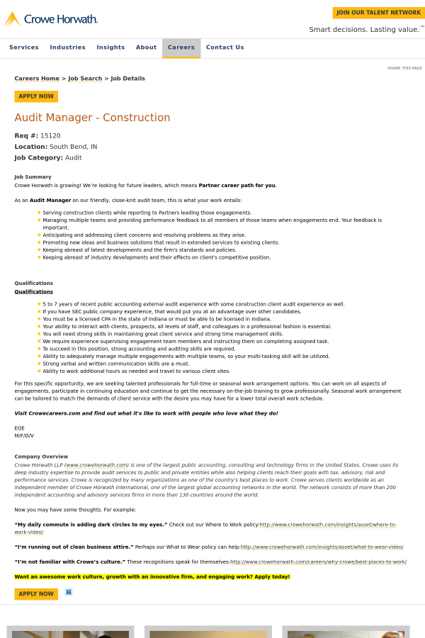 Audit Manager - Construction job at Crowe Horwath in South Bend, IN ...