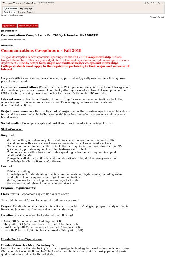 Communications Co-op / Intern - Fall 2018 job at Honda in Ohio, USA ...