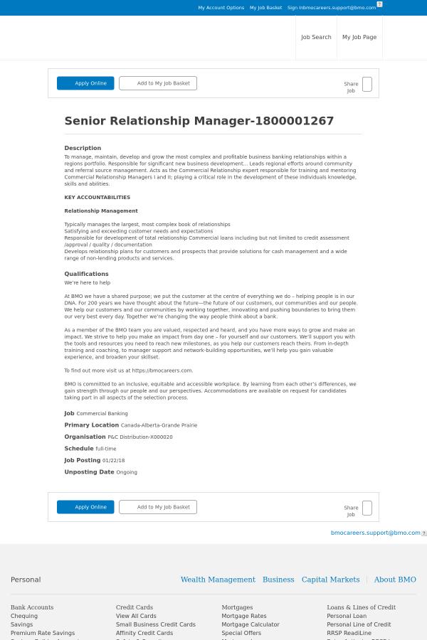 Senior relationship manager job at bmo harris bank in grande prairie description reheart Images