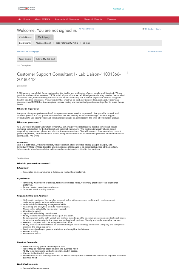 Customer Support Consultant I - Lab Liaison job at Idexx ...