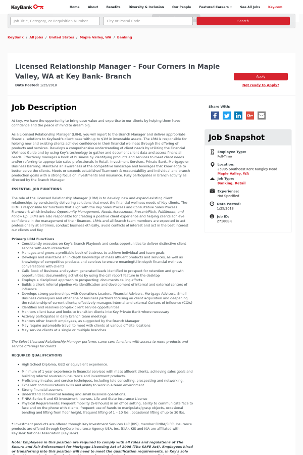 Licensed Relationship Manager job at Keybank in Maple Valley