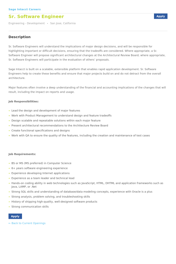 Senior Software Engineer job at Intacct in San Jose, CA - 10755438 ...