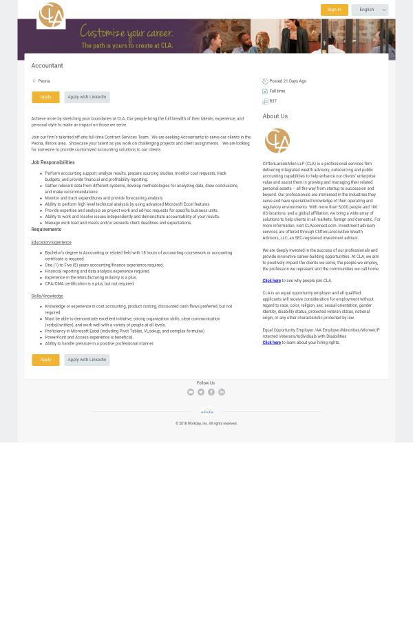 Accountant Job At Cliftonlarsonallen In Peoria Il 10755853