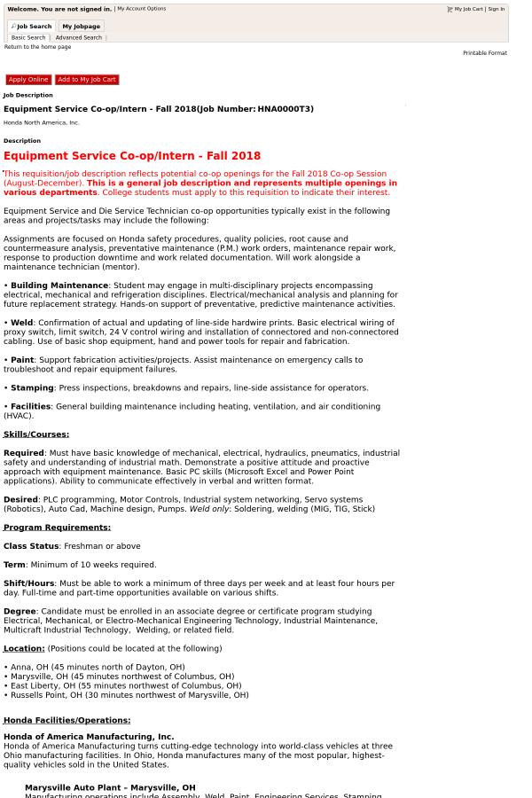 Equipment Service Co-op / Intern - Fall 2018 job at Honda in Ohio ...