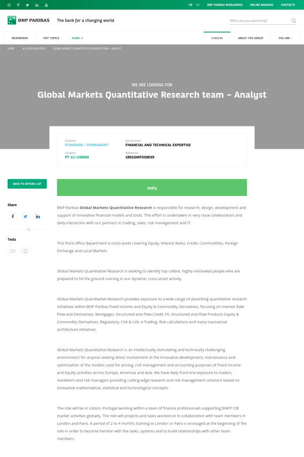 Global Markets Quantitative Research Team - Analyst job at