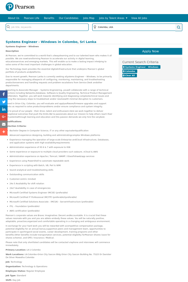 Systems Engineer Windows Job At Pearson In Colombo Sri Lanka