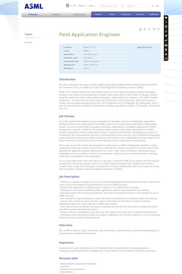 Field Application Engineer job at ASML in Malta, NY - 10831334 ...