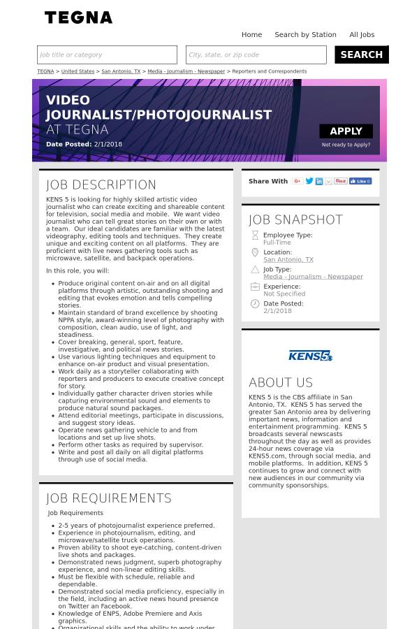 Video Journalist / Photojournalist job at Tegna Media in San Antonio ...