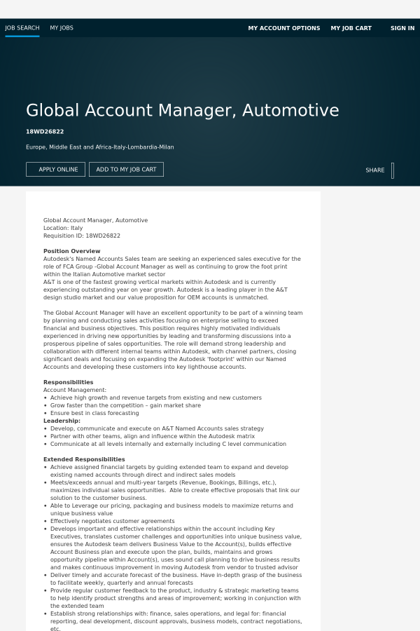 Global Account Manager, Automotive job at Autodesk in Milano, Italy ...