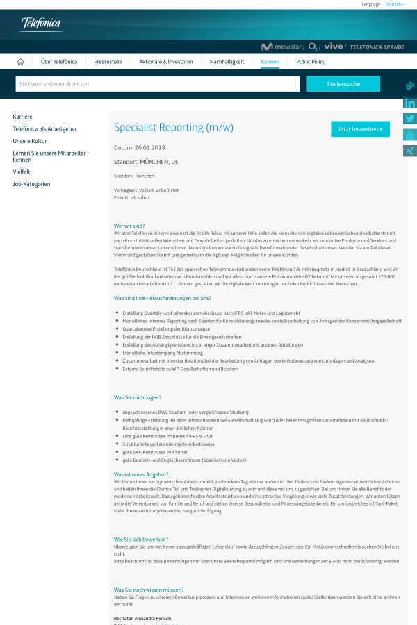 Specialist Reporting (m/w) job at Telefonica in Munich, Germany ...