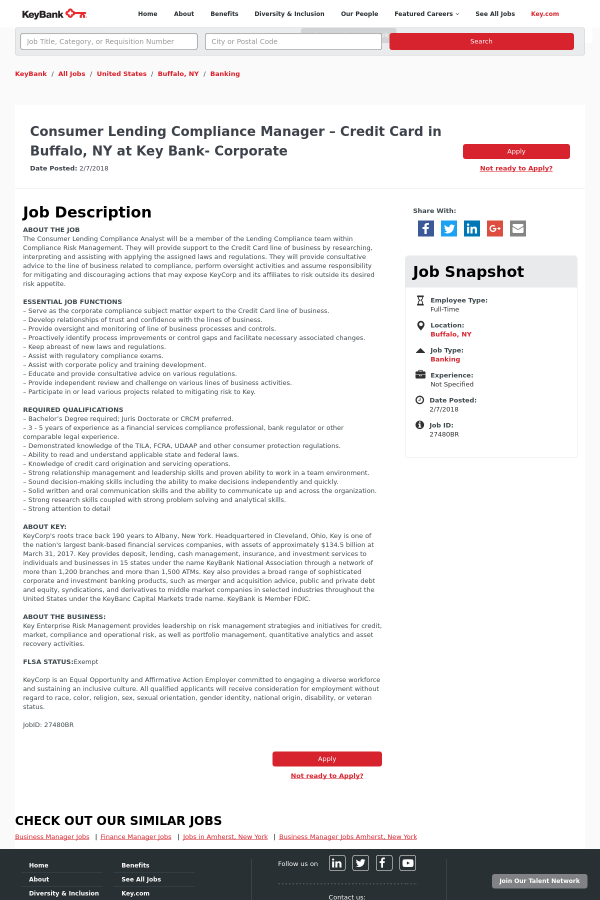 Consumer lending compliance manager credit card job at keybank job description reheart Image collections