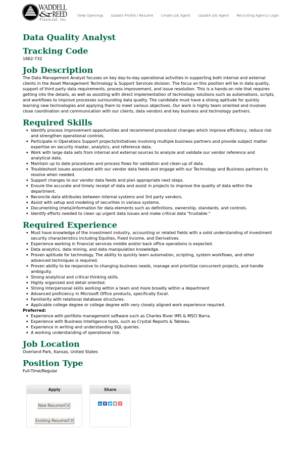 Data Quality Analyst job at Waddell & Reed in Overland Park, KS ...