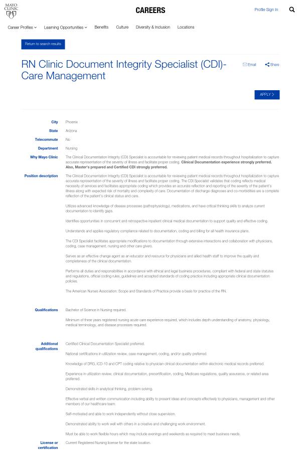 Registered Nurse Clinic Document Integrity Specialist Cdi Care