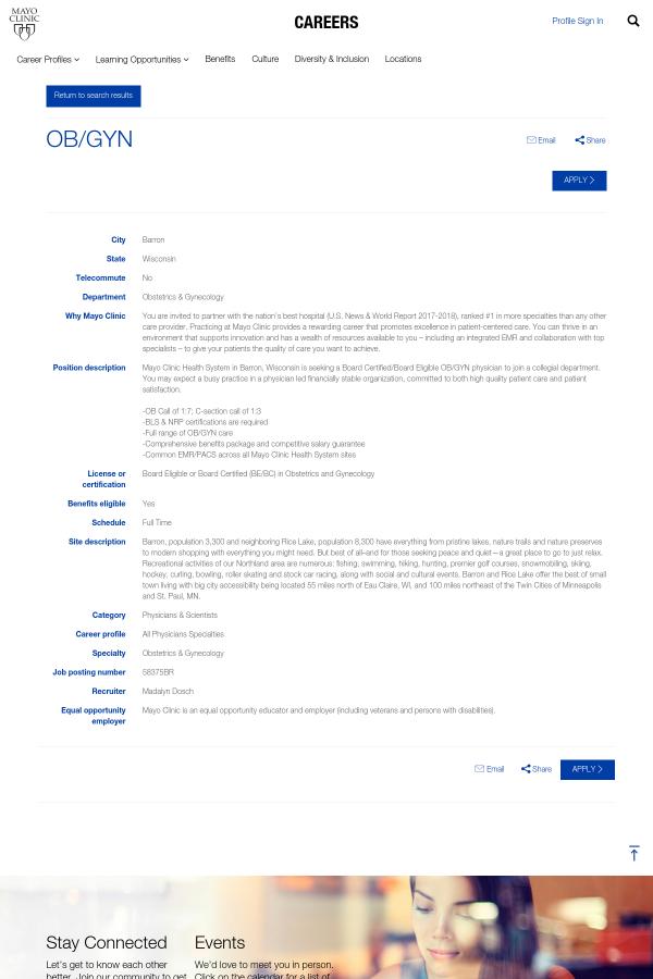 OB/GYN job at Mayo Clinic in Barron, WI - 10950938   Tapwage Job Search