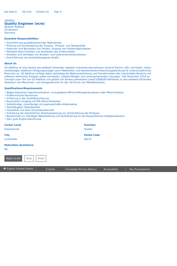 Quality Engineer job at General Electric in Lichtenfels, Germany ...