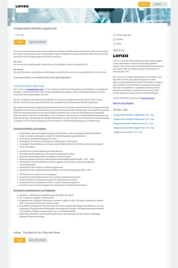 Anlagemeister Betriebs - Logistik Ibex job at Lonza in Visp ...