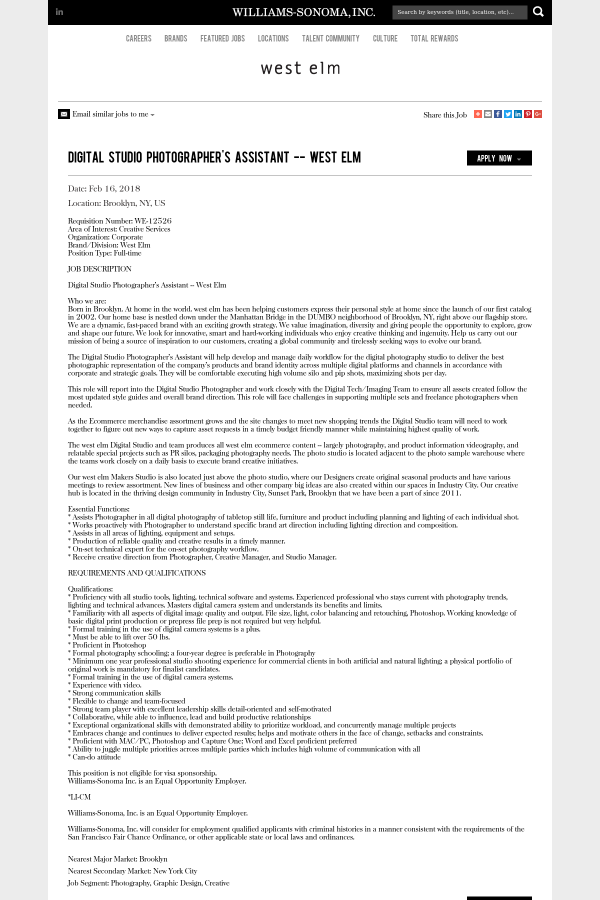 Digital Studio Photographer's Assistant - West Elm job at Williams ...