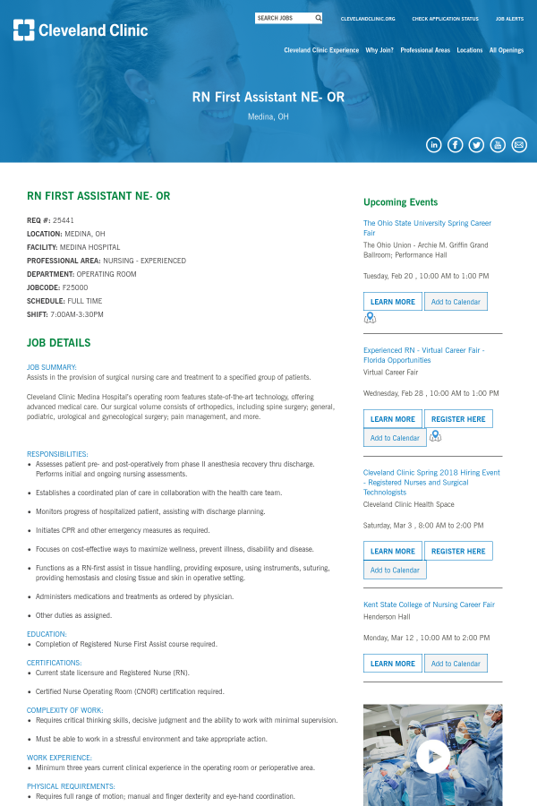 Registered Nurse First Assistant NE - OR job at Cleveland Clinic in ...