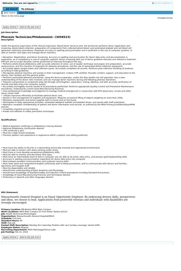 Pheresis Technician / Phlebotomist job at Massachusetts General ...