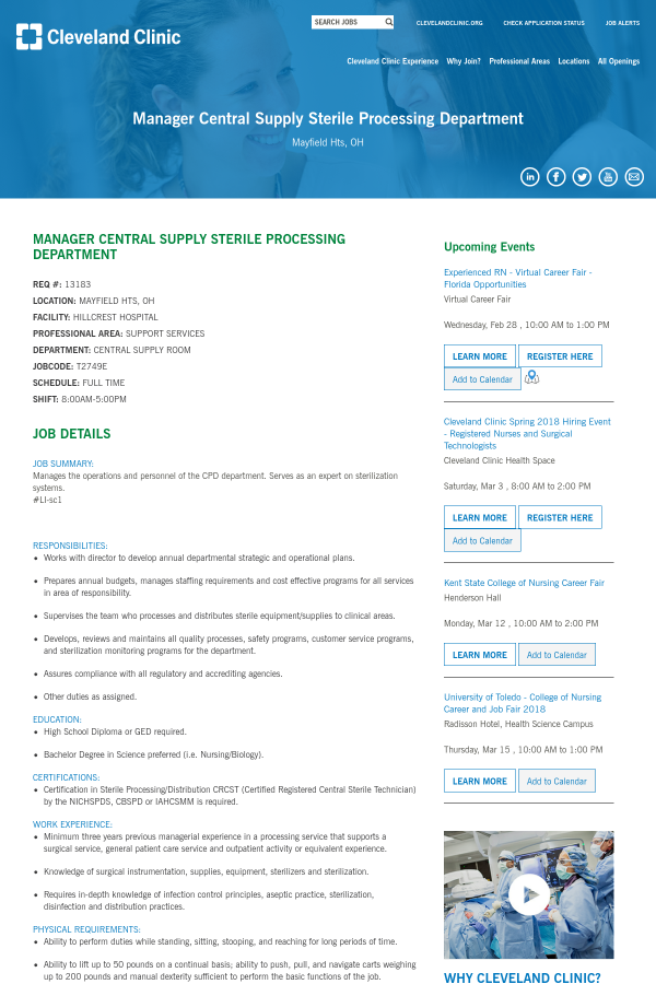 Manager Central Supply Sterile Processing Department Job At
