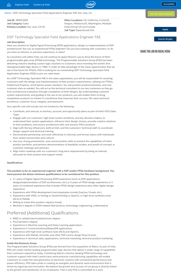 DSP Technology Specialist Field Applications Engineer FAE job at ...
