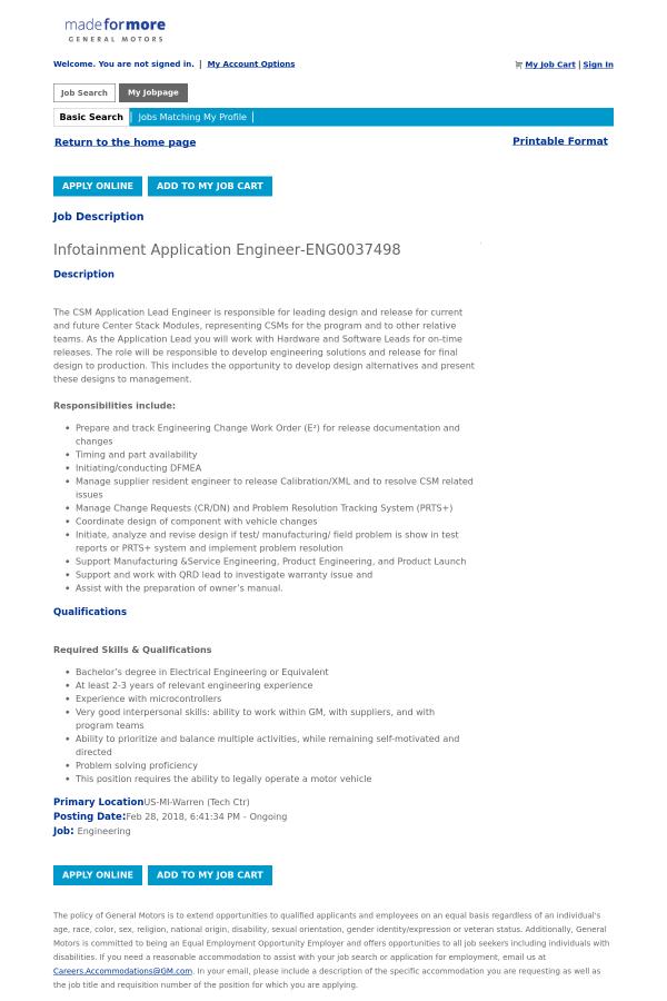 Infotainment Application Engineer job at General Motors in Warren ...