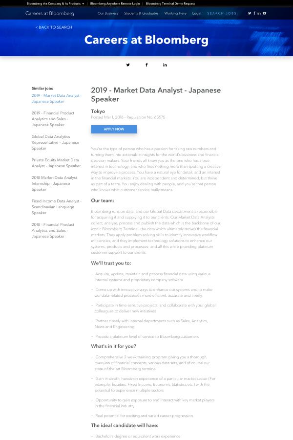2019 - Market Data Analyst - Japanese Speaker job at Bloomberg in