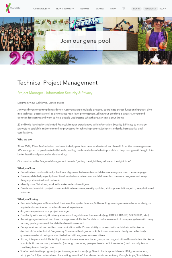 Project Manager Information Security Privacy Job At 23andme In