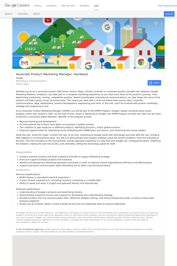Associate Product Marketing Manager Hardware Job At Google In Tokyo