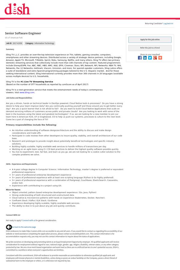 Senior Software Engineer job at Dish Network in American Fork, UT