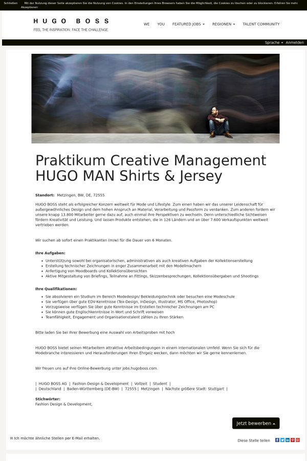 Praktikum Creative Management Hugo MAN Shirts & Jersey job at HUGO ...