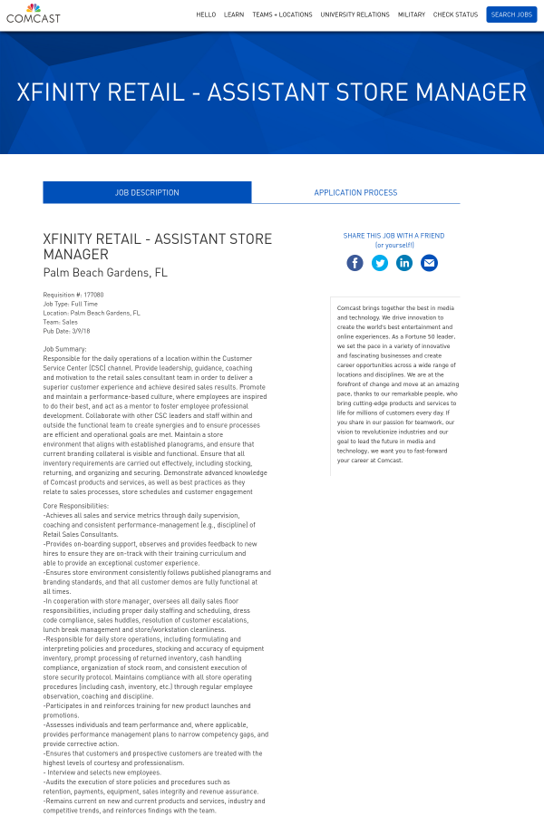 Lovely Xfinity Retail   Assistant Store Manager. Palm Beach Gardens ...