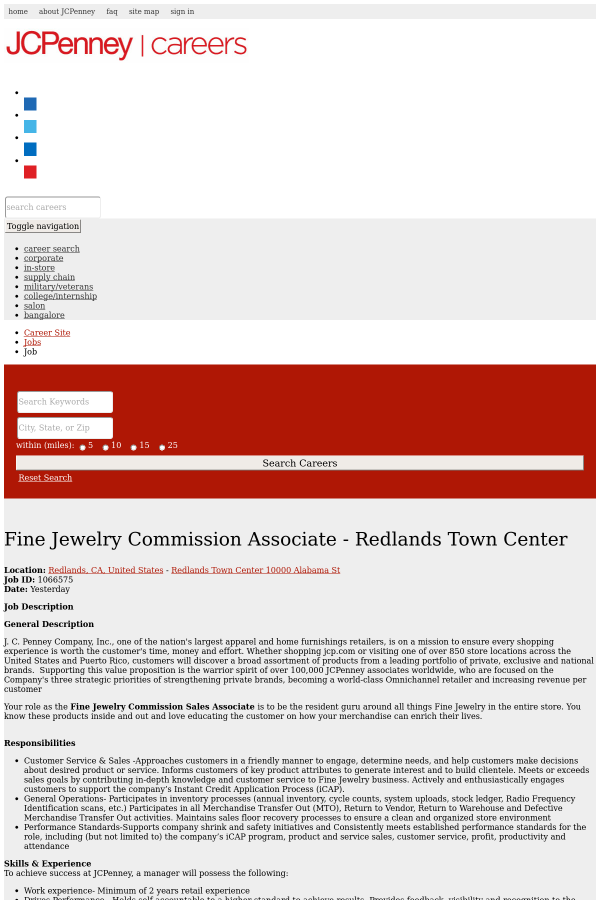 Fine Jewelry Commission Associate - Redlands Town Center job at ...