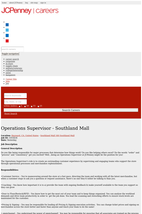 Operations Supervisor - Southland Mall job at JCPenney in Hayward ...