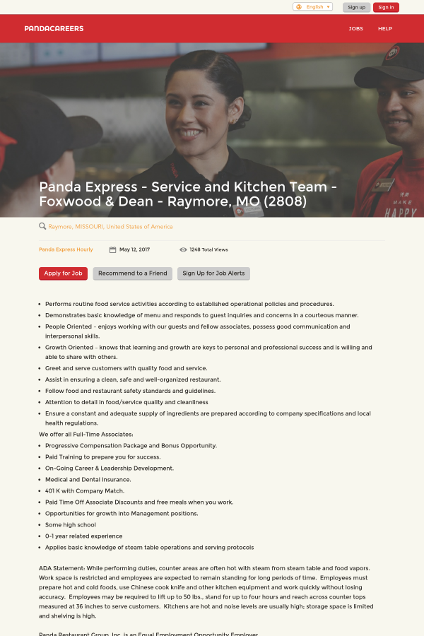 panda express service and kitchen team foxwood dean raymore