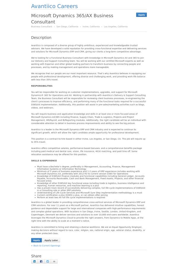 microsoft dynamics 365 ax business consultant job at avantiico in